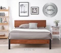 Details about Bed Frame KING Size Solid Wood Headboard Metal Platform Studio Modern Mahogany