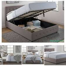NEW Full Size Bed Frame With Shoe Storage Tufted Headboard Linen ...