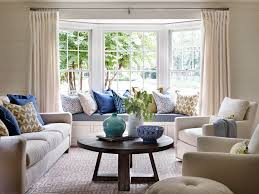 Window Seat Living Room Bright Living Room With Built In Window Seat And Blue Accents