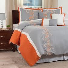 lavish home branches 7 piece orange embroidered queen comforter set