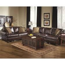 ashley furniture axiom 2 piece leather sofa set in walnut 42000 38 35 pkg