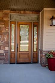 prefinished entry doors. exterior doors | fir fiberglass, three-quarter light, element glass with transom and prefinished entry i