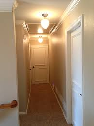 inspirations flush ceiling fixtures as modern hallway lighting added grey wall color painted schemes in small hallway decorating ideas