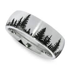 Laser Carved Pine Tree Pattern Men S Wedding Ring In Cobalt