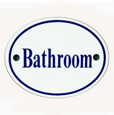 white u0026 blue enamel bathroom sign bathroom sign96 sign