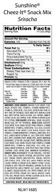 reduced fat cheez its nutrition label best of cheez it cheez it sriracha snack mix