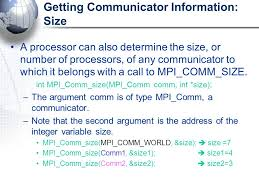 mpi comm size reference mpi program structure ppt download