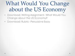 the american economy objectives describe the key characteristics  what would you change about the us economy writing assignment what would you