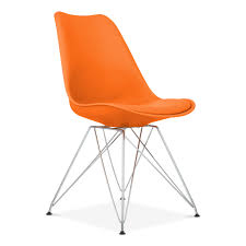orange dining chair with eiffel metal legs  modern chairs  cult uk