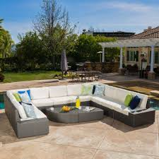 noble house santa cruz gray 12 piece wicker outdoor sectional set with white cushions