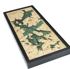 Moosehead Lake Wood Carved Topographic Depth Chart Map