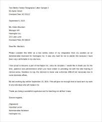 Two Week Resignation Letter Mesmerizing 48writing A Two Weeks Notice Letter Statement Letter