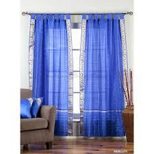 indian selections enchanting blue tab top sheer sari curtain d panel pair 63 inches no lining 60 x 63 inches 152 x 160 cms size no lining