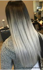 Black Root To Platinum Silver Ends