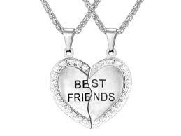 u7 2 pieces heart shaped best friends pendant necklaces stainless steel yellow gold plated austrian rhinestone inlaid wheat chain fashion jewelry
