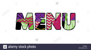 The Word Menu The Word Menu Concept Written In Colorful Abstract