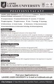 lahore leads university faculty positions are available in various disciplines 2017