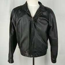 wilsons leather mens black leather jacket lined size