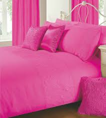 hot fushia pink colour plain duvet cover microfiber embossed design bedding set