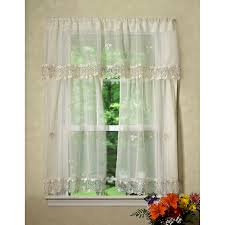 Kitchen Tier Curtains Sets Violet Linen Lima Sheer Kitchen Curtain Valance And Tier Set