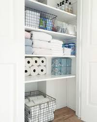 modern bathroom closet shelving organized simply idea system unit diy height linen wire open