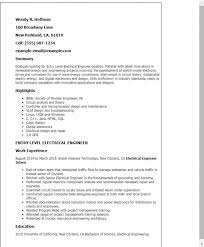 Entry Level Engineering Resume Template Templates Electrical