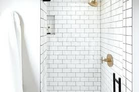 white shower tile attractive subway tiles with gray grout and brushed gold inside 10