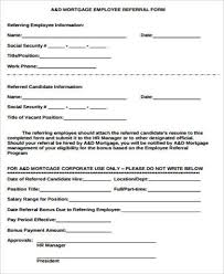 Sample Employee Referral Form 10 Examples In Word Pdf
