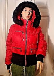 guess red quilted puffer jacket removable faux fur hoo junior l or women s s