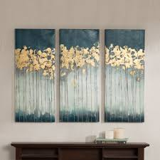 Wall Art Sets For Living Room Madison Park Midnight Forest Gel Coat Canvas With Gold Foil