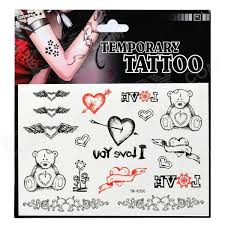 Srdce A Bear Vzor Tattoo Paper Sticker černá červená