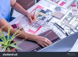 Interior Designer Laptop Architect Interior Designer Artist Creative Working Stock