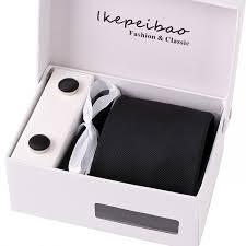 Ikepeibao Classic Stripe Black Mens <b>Ties</b> Cufflink Hanky <b>Sets</b> ...