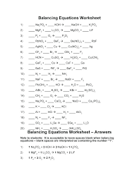 balancing equations worksheet chemistry 1 chemical answers 10 answer