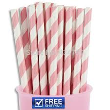 200pcs Baby Pink Striped Paper Straws Bulkparty Cake Pop Sticks