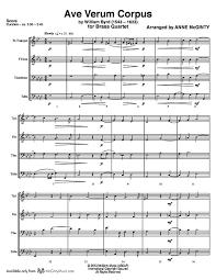 ave verum corpus sheet music ave verum corpus byrd brass quartet mcginty music llc