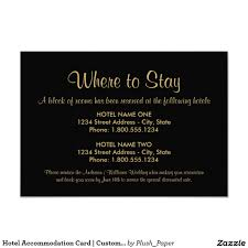 Hotel Accommodations Cards Hotel Accommodation Card Custom Colors In 2019 Wedding