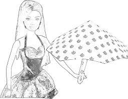 Kleurplaat Barbie Met Een Paraplu