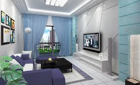 blue sofas living room: blue curtain color for small living room with blue interior theme