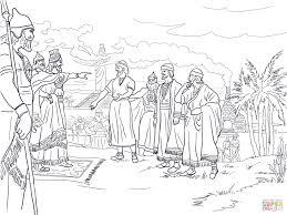 Sadrach Mesach En Abednego Voor De Koning Nebukadnezar Kleurplaat