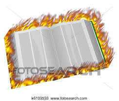 an open book on fire and in flames