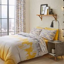 catherine lansfield city scape duvet cover set ochre single linens limited