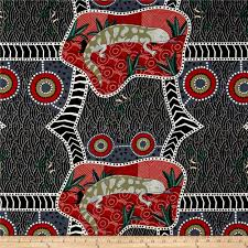 blue tongue tonga black from fabricdotcom designed by nambooka for m s textiles australia