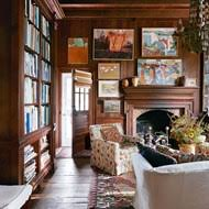 Bookcase Design Ideas panelled living room with armchairs and bookcase