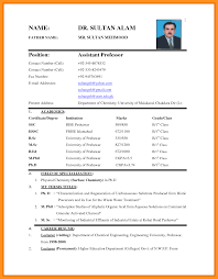 7 Bio Data Format For Teacher Job Scholarship Letter