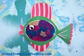 stained glass rainbow fish kid craft w free printable template glued to my crafts