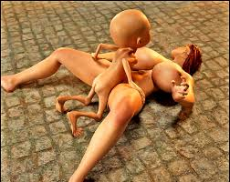 Busty human slut gets tied up and dominated by ugly monsters.