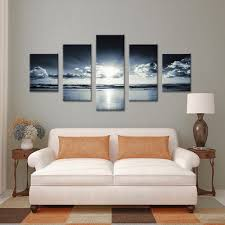 Living Room Paintings Art Aliexpresscom Buy 5 Panels Canvas Print Black And White Sea