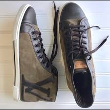 Louis Vuitton Suede Leather High Top Sneakers