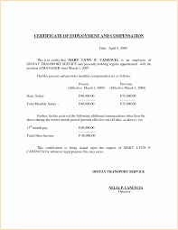 Format For Certificate Of Employment Certificate Of Employment With Compensation Sample P Sample